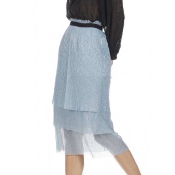 ddda1a79f0360d Maje Jupe Midi Fluide skirt in Bleu Ciel NWT
